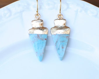 Turquoise Arrowhead Earrings. Gold Plate Ear Wires.