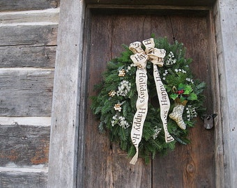 HAPPY HOLIDAYS fresh evergreen WreaTH balsam and fraser fir DECORATED Large size