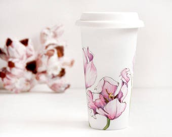 White Ceramic Travel Mug - Pink Tulips, Botanical Collection