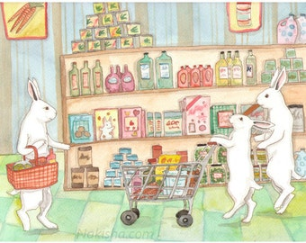 RESERVED for LS - Original Art - Grocery Store - Watercolor Rabbit Painting