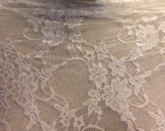 Floral Stretch  Lace Fabric  1 3/8 Yards