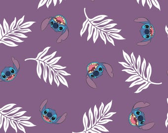 Palm Leaves in Wildberry Lilo and Stitch Disney Woven Cotton Fabric BTY