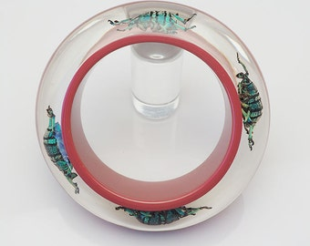 Gorgeous maroon lucite bracelet with real blue beetles