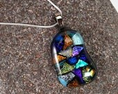 Freeform dichroic fused glass pendant, dichroic necklace, glass pendant, art glass pendant