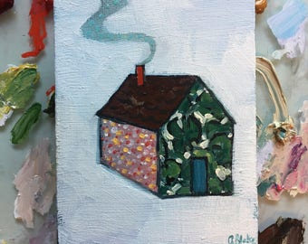 A home made of jungles and daydreams - original oil painting on wood