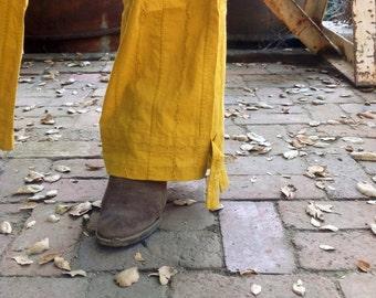Mustard Jaunty Eyelet Trousers