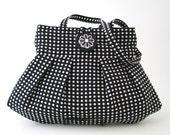 polka dot bag,  Black purse, retro bag, black handbag, shoulder bag, fabric bag, womens handbag, retro purse, gift for her