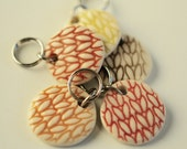 Round Porcelain Stitchmarkers Set of 5 warm Colors