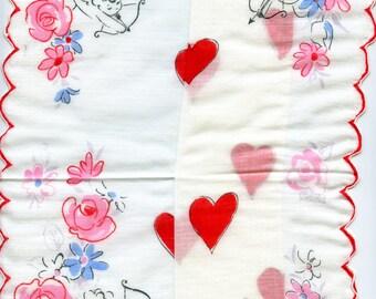 Vintage Cupid with Bow Arrow HEARTS VALENTINE Hankie Handkerchief Eros Roses 3695