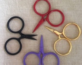 embroidery scissors by Kelmscott Designs, small with large finger holes, craft scissors, knitting scissors, cross stitch