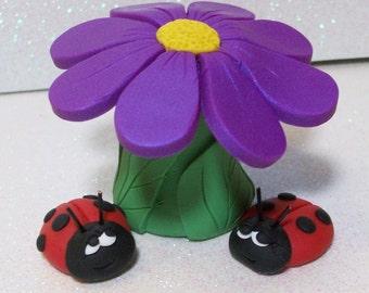 Ladybugs with a flower umbrella, miniatures fairy garden, gnome or terrariums