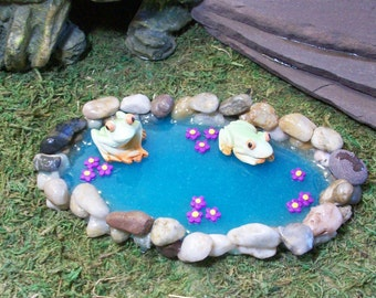 Miniature stone pond for Fairy garden or terrariums, handmade mini pond with frogs