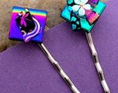 Dichroic Glass BOBBY PINS Two Hair Pins