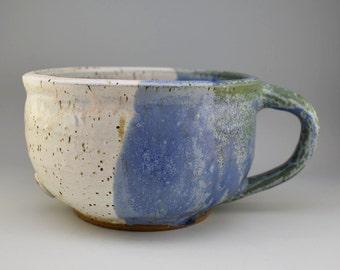 coffee mug pottery, Blue mug, white mug, Latte Pottery Mug, latte mug, ceramic mug, pottery mugs, best friend gift, unique coffee mug