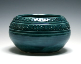 Teal Bowl, Dotted Bowl, Teal Ceramic Bowl, Home Decor, Handmade Pottery