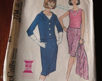 Vintage 60s McCalls 7714 Misses Skirt Suit and Blouse Sewing Pattern size 12 B 32