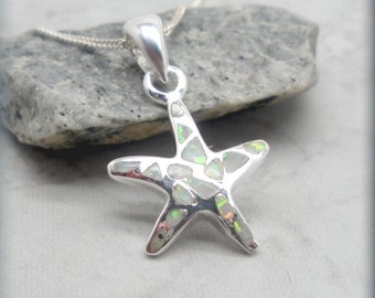 White Opal Starfish Necklace, Sterling Silver, Star Fish, Ocean, Beach Jewelry, Beach Lover, Bridesmaid Gift, Opal Jewelry, Sea Star (SN977)