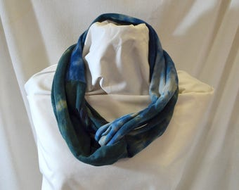 Hand Dyed Hemp Knit Infinity Scarf - Intense Colors that will Express Your Creativity, Soft Knit Fabric, Navy, Green and Taupe