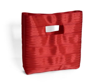 The Hyphen Bag in Red - Red Seatbelt Clutch Purse
