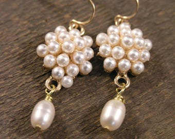 Ivory freshwater pearls and gold handmade earrings