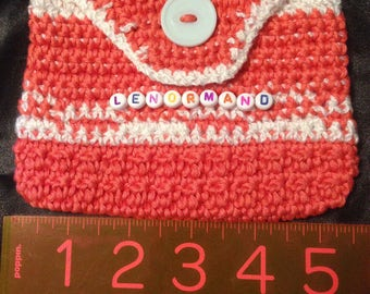Lovely Lenormand cards pouch with beads spelling Lenormand. Mandarin orange and White. Tapestry crochet.