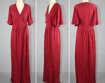 1970s dress / maxi dress / plunging / vintage NIGHT AT AMALFI dress