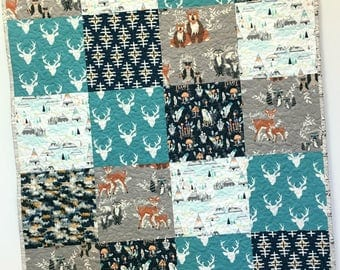 Baby Crib Quilt Woodland Nursery Crib Bedding Patchwork  Hello Deer Bear Forest Animals Teepee