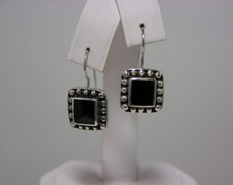Vintage Sterling Silver and Genuine Onyx Earrings with French Earwire MoonMagicTreasures Genuine Gemsonte