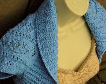 Periwinkle Blue Knit Shrug with Diamonds and Eyelet Lace, size: Medium  periwinkle blue bolero sweater shrug wedding bridal formal cover-up