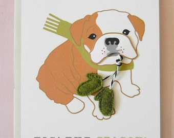 Boris the English Bulldog Holiday Christmas Scarf Felt Mitten Gloves Blank Note Card with Envelope