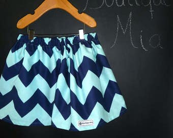 Sample SALE - Will fit Size 3T to 5T - Ready to MAIL - SKIRT - Riley Blake - Navy and Aqua Chevron - by Boutique Mia