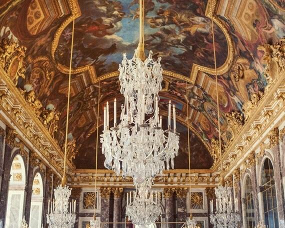 "Versailles Chandelier Print, Paris Photography, Romantic Wall Art, Gold Art Print, Hall of Mirrors, Gold Paris Decor ""Secret History"""