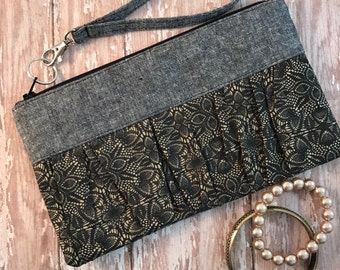 Black Lace Print Wristlet clutch Hand Bag Gift For Her Handmade Bag Ruffled Wristle Cosmetic pouch Zipper bag