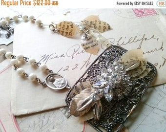 SALE Buckle collage necklace, antique assemblage necklace, religious necklace, religious medal, sacred cake, rosary necklace, one of a kind.