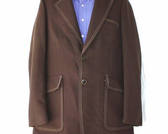 Vintage Martinelli Tailored for Shacks Mens Large Brown 2 Button Suit Jacket