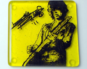 Keith Richards Rolling Stones Musician Fused Glass Coaster, Music, Singer, Music, Guitarist