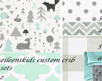 Girls or Boys Woodland Animals themed Custom Luxury Crib set