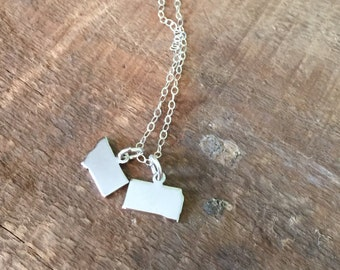 Tiny two states charm necklace-multiple states necklace-friendship jewelry-2 states on 1 chain necklace-moving jewelry