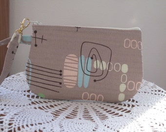 Retro Reproduction Barkcloth Wristlet Zipper Gadget Pouch Purse Boomerang Beat in Cocoa