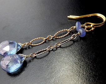 Blue Drop Earrings, Periwinkle Tanzanite, Gold Vermeil, Mystic Quartz Teardrop Earrings