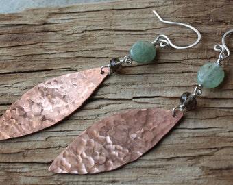 Hammered Copper Green Kyanite Smoky Quartz Earrings, Mixed Metal Earrings, Rustic Earrings, Long Dangle Earrings, Handmade Gemstone Earrings