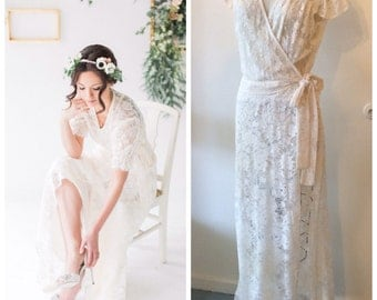 HALF OFF SALE! Ivory Lace Wrap Dress