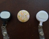 Fabric Covered Button for Clip on Retractable Badge Reel - Field of Flowers