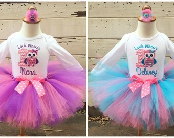 Twin Owl 1st Birthday Tutu Outfits- Look Whoo's Turning 1- Pink, Purple, Turquoise- Personalized Baby Girls