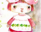 Strawberry Shortcake - watercolor art print by Mindy Lacefield