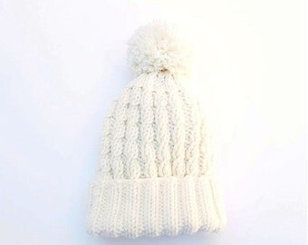 15% OFF SALE: Merino Wool Cable Hat / Beanie with Pompom. Child / Baby. Hand Knit. Soft Cream / Ivory White. Fall / Winter.
