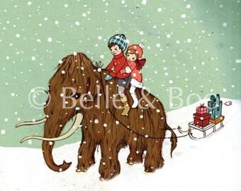 Woolly Mammoth Art Print, Vintage Style Children's Illustration art