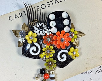 Vintage collage brooch pin die flowers black white orange upcycled funky Tiffany