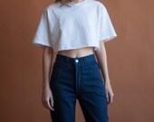 deadstock blue denim high waist jeans / high rise tapered denim / vtg 80s jeans / 3 / 24 W / 2105t / B10