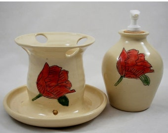 ON SALE White Ceramic Bathroom Set with Red Flower, Wheel Thrown Clay